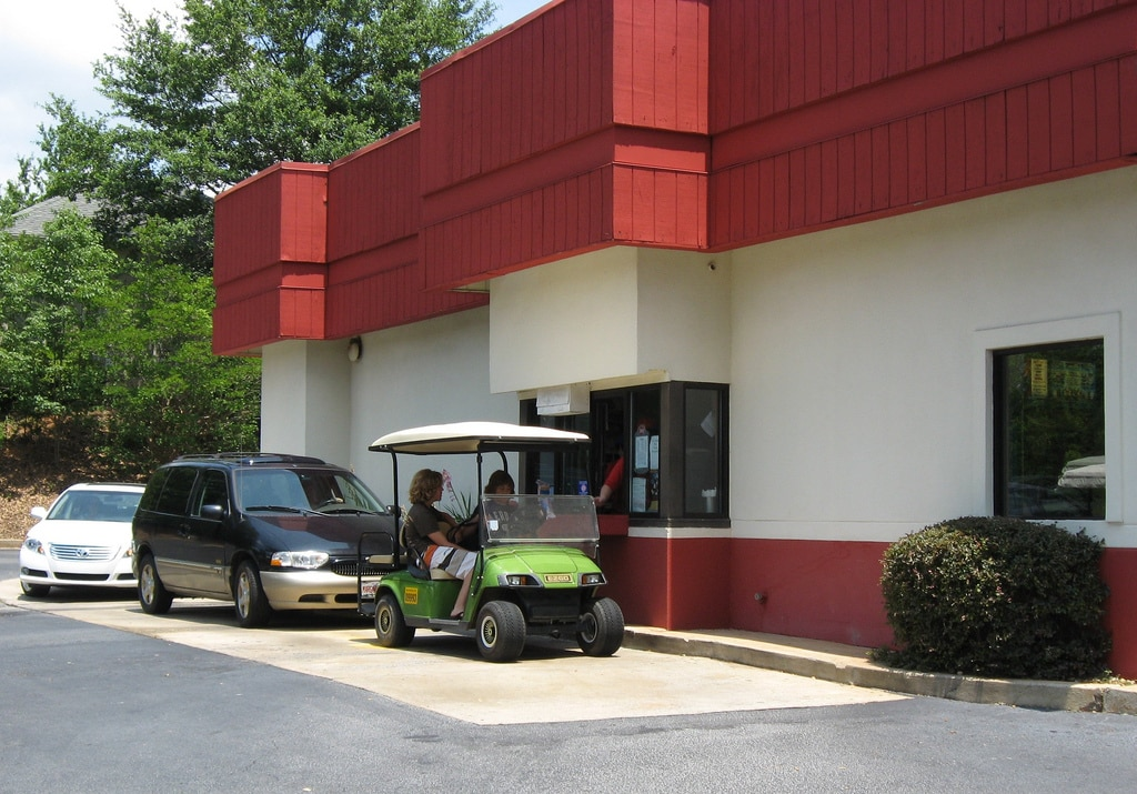 golf cart at drive thru