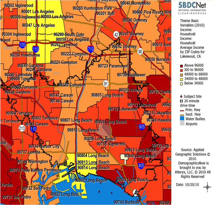 Small Business Research Map Showing Average Income and a 20 Minute Drive Time Boundary