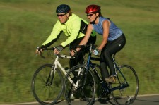 Pair of road bicyclists